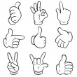 Set of gestures. Hands symbols (signals) collection. Cartoon style. Isolated on white background. Vector illustration — Stock Vector #40134829