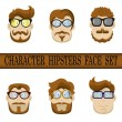 Hipster character face set. Hipster Character Kit - Hairstyles, Glasses, Mustaches, Beards. Vector illustration — Stock Vector #40134837