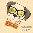 Fashion Hand Drawing Illustration of Dog in Glasses and Bow Tie. Hipster look. Retro vintage style. Doodle style — Stock Vector