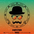 Hipster vector background. Retro vintage label design. Hipster theme label, card. Mustache, Glasses and Bowler Hat. Baroque ornaments and floral details. Colorful. — Stock Vector