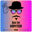 Hipster vector background. Retro vintage label design. Hipster theme label, card. Mustache, Glasses and Bowler Hat. Colorful. — Stock Vector #40134903