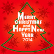 Christmas Greeting Card. Merry Christmas and Happy new year 2014 lettering, vector illustration — Stock Vector