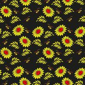 Floral seamless pattern. Russian khokhloma (Hohloma) background vector design. Gold and red colors on black background. Ethnic Colorful vintage backdrop. Use for wallpaper,pattern fills, background — Stock Vector