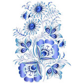 Russian national floral pattern in style Gzhel (a flowers of Russian ceramics, painted with blue on white). — Stock Vector