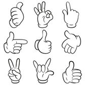 Set of gestures. Hands symbols (signals) collection. Cartoon style. Isolated on white background. Vector illustration — Stock Vector