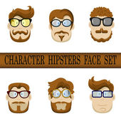 Hipster character face set. Hipster Character Kit - Hairstyles, Glasses, Mustaches, Beards. Vector illustration — Stock Vector