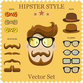 Hipster Character Vector Illustration with Hipster Elements and Icons. Vintage Set for your design. Concept background — Stock Vector