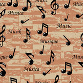 Abstract Music notes seamless pattern. Vector background (wallpaper). Illustration for your design — Stock Vector
