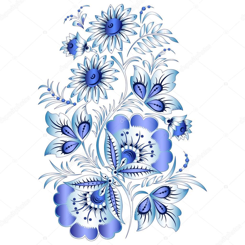Роспись гжель цветы фото