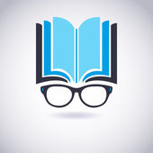 Book icon with Glasses. Vector Illustration — Stock Vector
