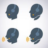 Headset Contact. Live Help. Support icon. Vector set Illustration — Stock Vector