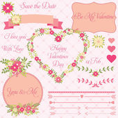 Vector set of decorative valentines flower design elements in vintage style  — Vector de stock