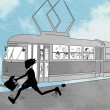Silhouette running in front of trolley — Foto de Stock