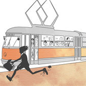 Man running in front of trolley — Stock Photo