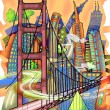 San Francisco colored drawing — Stock Photo