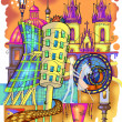 Prague colored drawing — Stockfoto