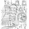 Prague outline drawing — Stockfoto