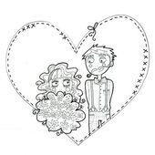 Wedding couple illustration — Stock Photo