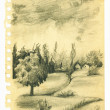 Vintage sketchbook page with landscape sketch — Stock Photo #37385009