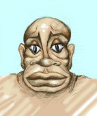 Caricature of black man, hand drawing picture — Foto de Stock