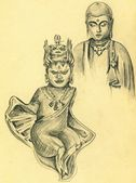 Vintage sketch of Hindu Gods — Stock Photo