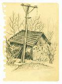 Pagina d'epoca sketchbook con schizzo di casa vecchia — Foto Stock