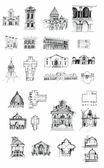 Historical buildings sketches — Stockfoto