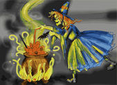 Witch Cooking a Magic Mixture — Stock Photo