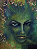 Evil woman's face — Stock Photo