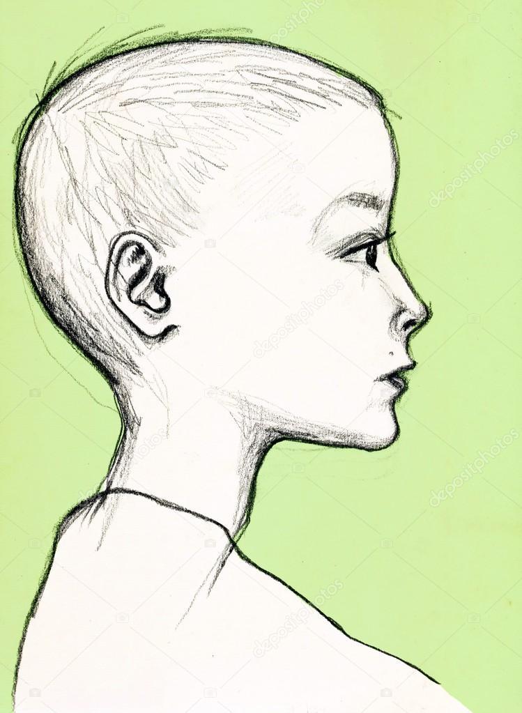 Мальчик в профиль рисунок