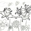 Flying couple illustration. Flower field. — Stock Photo