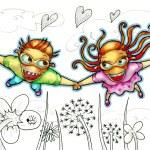 Flying couple illustration — Stock Photo #39585907