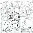 Little girl by her working table drawing sunshine. Horror surrounding — Foto Stock