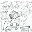 Little girl by her working table drawing sunshine. Horror surrounding — Foto de Stock