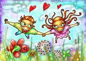 Illustrazione di coppia volante — Foto Stock