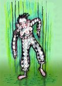 Dummy marionet Harlekijn — Stockfoto