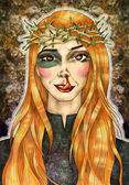 Portrait of a pretty girl with long hair and blossoming crown of thorns — Stock Photo