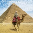 Camel Man in Front of Giza Pyramid — Stock Photo