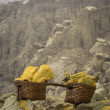 Baskets Loaded with Lumps of Solid Sulfur at Kawah Ijen Volcano, Indonesia — Stock Photo
