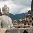 Buddha Statue and Stupas at Borobudur, Indonesia — Stock Photo