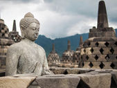 Buddha Statue and Stupas at Borobudur, Indonesia — Stock Photo