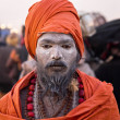 Orange Robed Indian Sadhu at Kumbh Mela 2013 in Allahabar, India — Stock Photo
