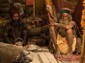 Mahant Amar Bharti Ji in His Tent at Kumbh Mela 2013 — Stockfoto