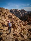Hikers Walking Down Sacred Mount Sinai in Egypt — Stock Photo