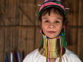 Karen Long Neck Woman in Hill Tribe Village — Stock Photo