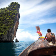 Boy on Longtail Boat, Ko Phi Phi, Thailand — Stock Photo