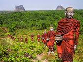 Statues of Buddhist Monks in the Forest, Mawlamyine, Myanmar — Stock Photo