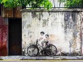 Sokak sanatı duvar georgetown, penang, malezya — Stok fotoğraf