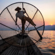 Fisherman in Inle Lake at Sunset, Inle, Shan State, Myanmar — Stock Photo #51259999