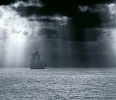 Commercial Ship crossing ocean — Stock Photo